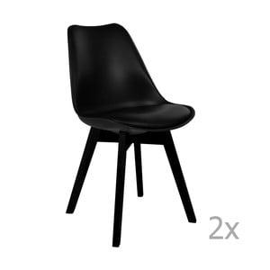 Zestaw 2 czarnych krzeseł do jadalni House Nordic Viborg