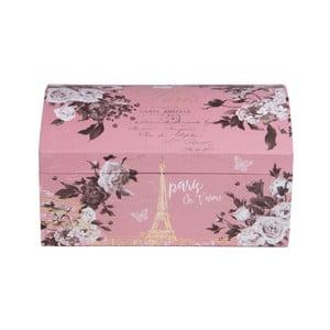 Różowa szkatułka na biżuterię Tri-Coastal Design z motivem květin