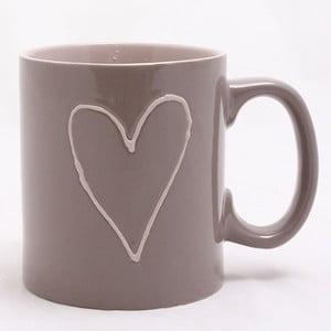 Brązowy ręcznie zdobiony kubek ceramiczny Dakls Heart Dark, 0,5 l