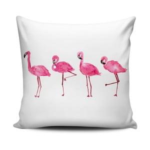 Różowo-biała poduszka Home de Bleu Painted Flamingos, 43x43cm