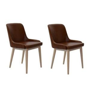 Zestaw 2 krzeseł Edgar, brązowe