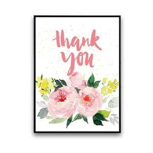 Plakat z różowymi kwiatami Thank You, 30 x 40 cm