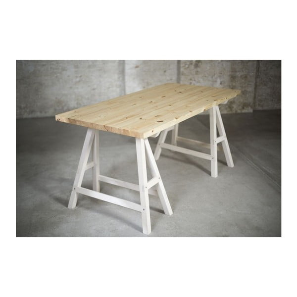 Stół Stemke na białych koziołkach, 160 cm