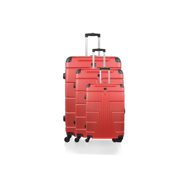 Zestaw 3 walizek Riana, czerwone