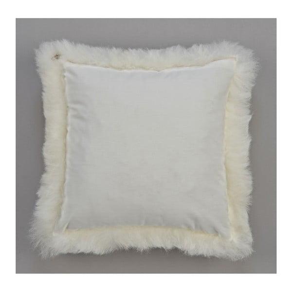 Biała poduszka futrzana z krótkim włosiem, 35x35 cm