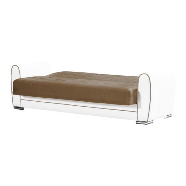 Brązowo-kremowa dwuosobowa sofa rozkładana ze schowkiem Esidra Rest