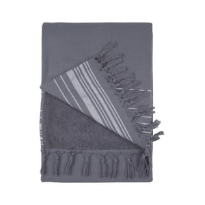 Antracytowy ręcznik hammam Walra, 100x180cm