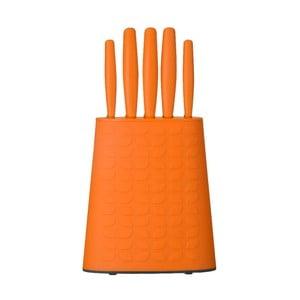 Zestaw nierdzewnych nożów ze stojakiem Orange, 5 szt.