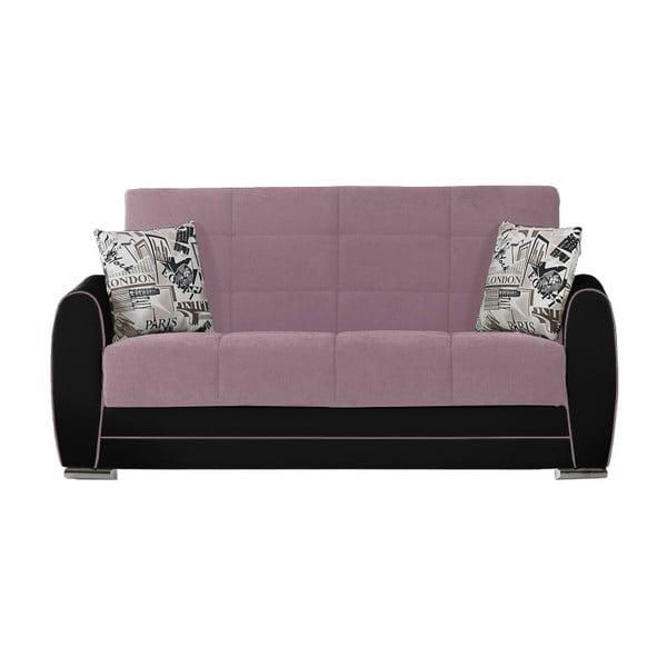 Fioletowo-czarna dwuosobowa sofa rozkładana ze schowkiem Esidra Rest