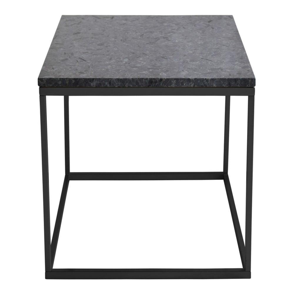 Czarny stolik granitowy z czarną konstrukcją RGE Accent, szer.50cm