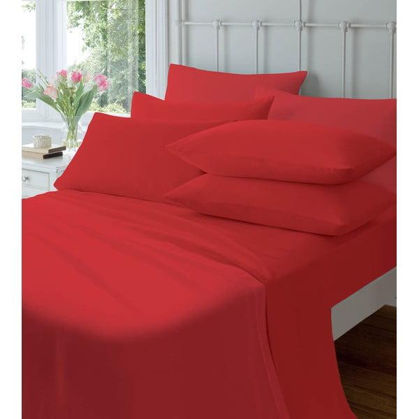 Prześcieradło nieelastyczne Plain Flette Red, 180x254 cm
