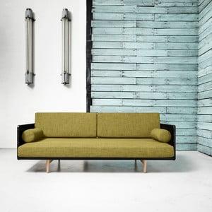 Sofa rozkładana Karup Deva Black/Raw Oak/Avocado Green