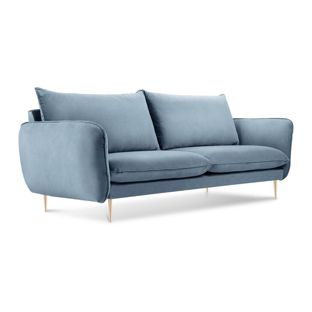 Bladoniebieska aksamitna sofa Cosmopolitan Design Florence, 160 cm
