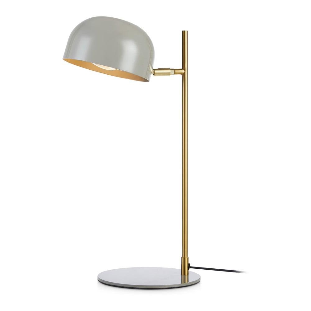 Szara lampa stołowa z podstawą w miedzianym kolorze Markslöjd Pose Table 1L