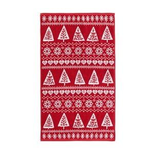 Czerwony ręcznik Nordic Winter, 90x140 cm