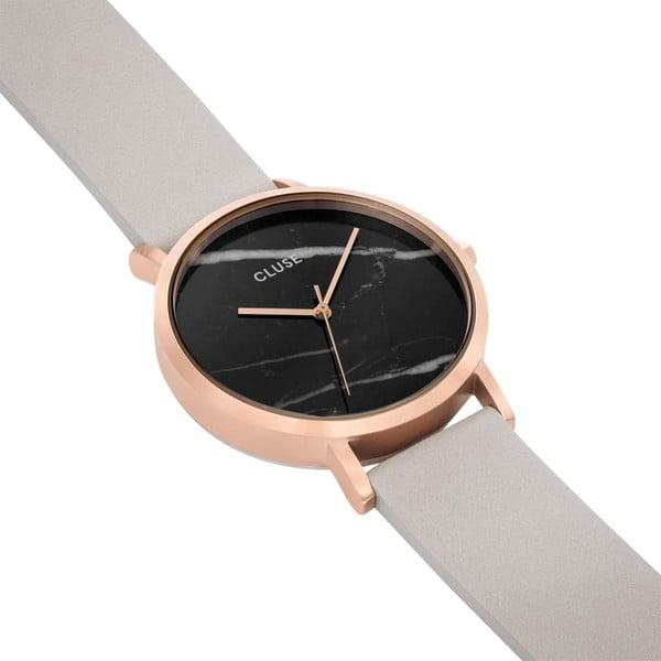 Zegarek damski z szarym skórzanym paskiem i marmurowym cyferblatem dekoru Cluse La Roche Rose