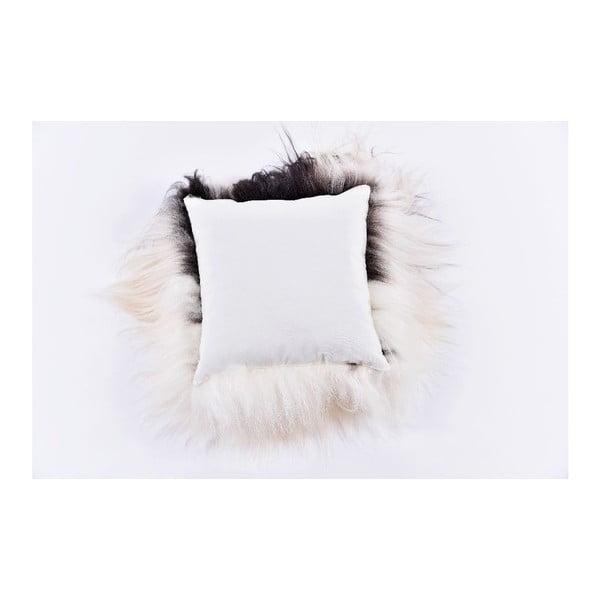 Czarno-biała poduszka futrzana z długim włosiem Spotted, 35x35 cm