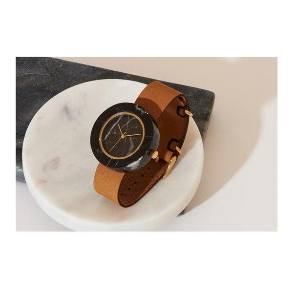 Czarny marmurkowy zegarek z brązowym paskiem Analog Watch Co. Marble