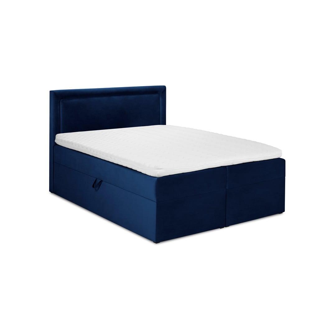 Niebieskie aksamitne łóżko 2-osobowe Mazzini Beds Yucca, 160x200 cm