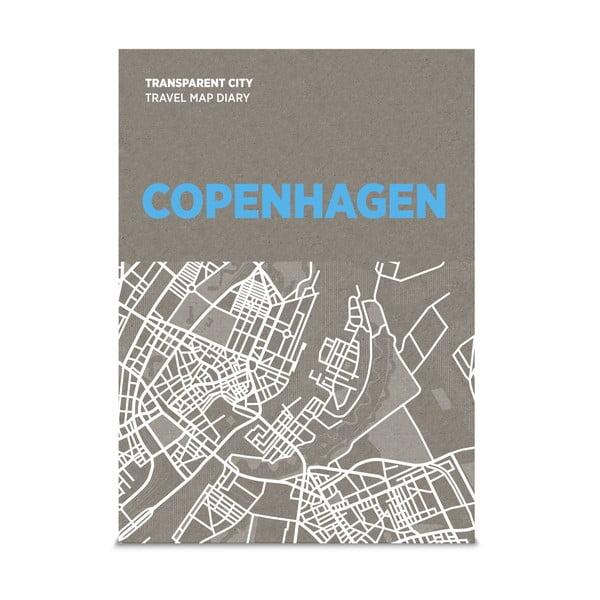 Mapa Kopenhagi z przezroczystymi kartkami na notatki Transparent City