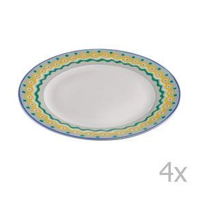 Komplet 4 porcelanowych talerzyków deserowych Oilily 19 cm, zielony