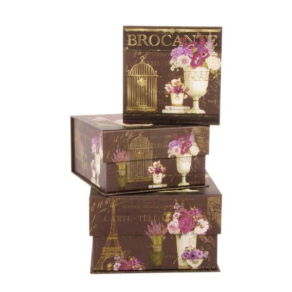 Zestaw 3 pudełek Brocante Brown