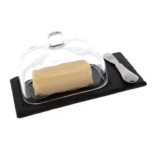 Maselniczka z nożem Cloche, łupek kamienny, 22x13 cm