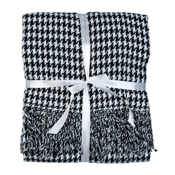 Czarno-biały pled Clayre & Eef Dots, 130x150 cm
