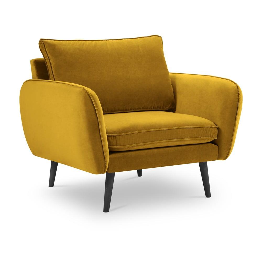 Żółty aksamitny fotel Kooko Home Lento