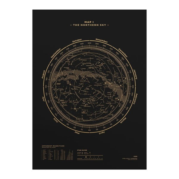 Plakat The Northern Sky Gold/Black, 50x70 cm