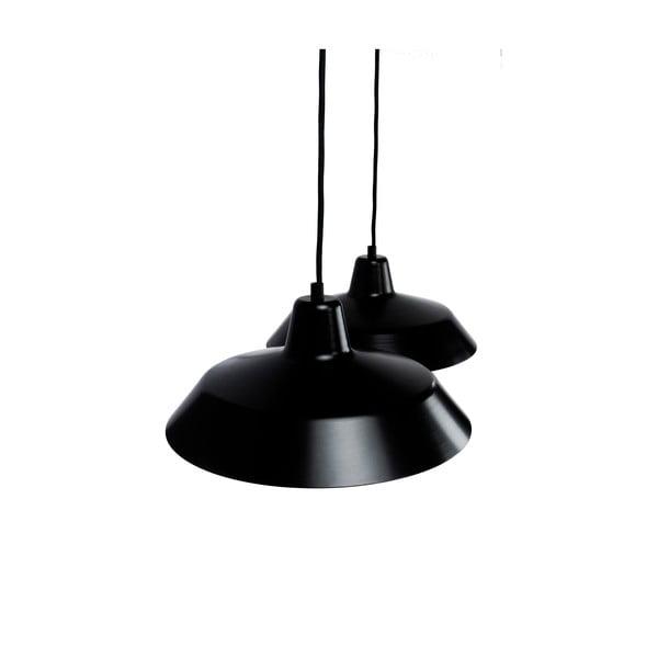 Lampa wisząca z 2 czarnymi kablami i kloszami w czarnym oraz złotym kolorze Bulb Attack Cinco