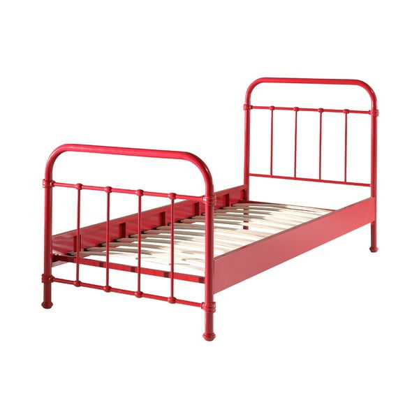 Czerwone metalowe łóżko dziecięce Vipack New York, 90x200 cm
