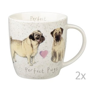 Zestaw 2 kubków Churchill China Dog Pugs, 400 ml