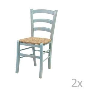 Zestaw 2 niebieskich krzeseł z litego drewna Crido Consulting Straw