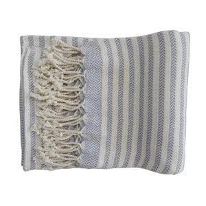 Jasnoniebieski ręcznie tkany ręcznik z bawełny premium Safir,100x180 cm