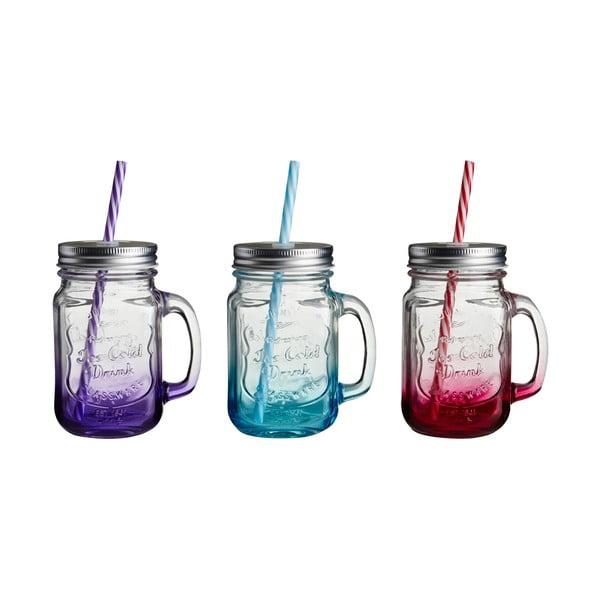 Zestaw 3 kolorowych szklanek ze słomką Premier Housewares
