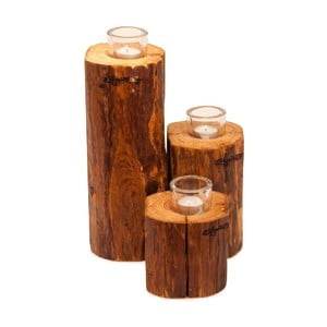 Zestaw 3 świeczników Lumberjack