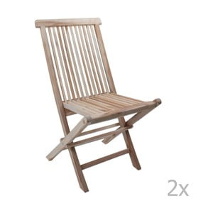 Zestaw 2 składanych krzeseł ogrodowych z drewna tekowego ADDU Java