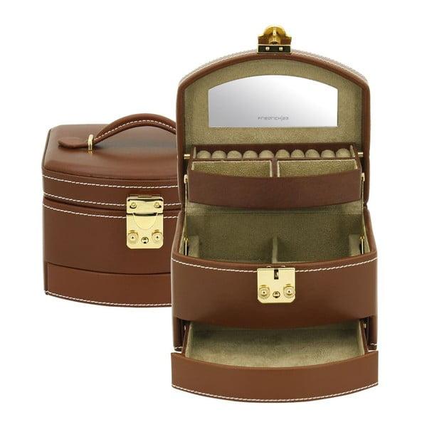 Brązowa szkatułka Friedrich Lederwaren Cordoba, 16x13 cm