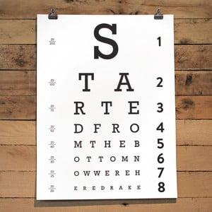 Plakat Eye Chart, 61x46 cm
