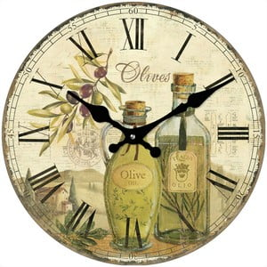 Szklany zegar Oliwki, 34 cm