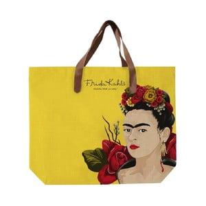 Żółta torba pleciona Madre Selva Frida Roses, 55x40cm