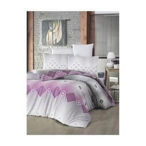 Pościel dwuosobowa z prześcieradłem i poszewką na poduszkę Adriana Lilac, 160x220 cm