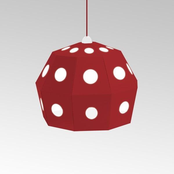 Kartonowa lampa Uno Fantasia B Red, z czerwonym kablem