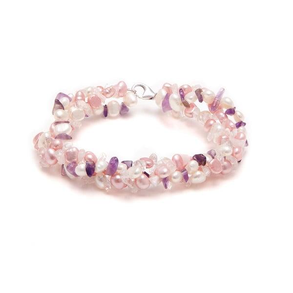 Bransoletka z pereł słodkowodnych Amethyst, różowa