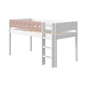 Różowo-białe dziecięce łóżko Flexa White, wys. 120 cm