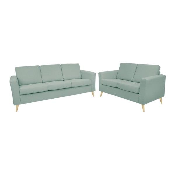 Zestaw niebieskoszarej 2-osobowej i 3-osobowej sofy z naturalnymi nogami Helga Interiors Alex