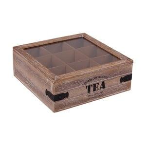Pudełko drewniane z 9 przegródkami na herbatę Tea
