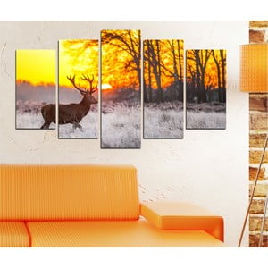 5-częściowy obraz Jeleń w zimie