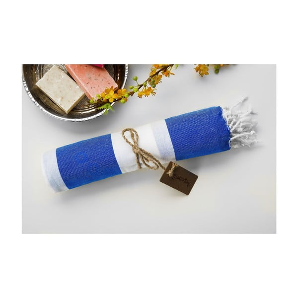 Ręcznik hammam Myra Blue White, 100x180 cm